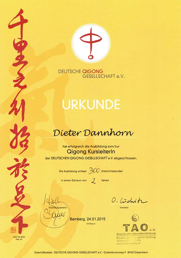 QIGONG-Kursleiter-Urkunde