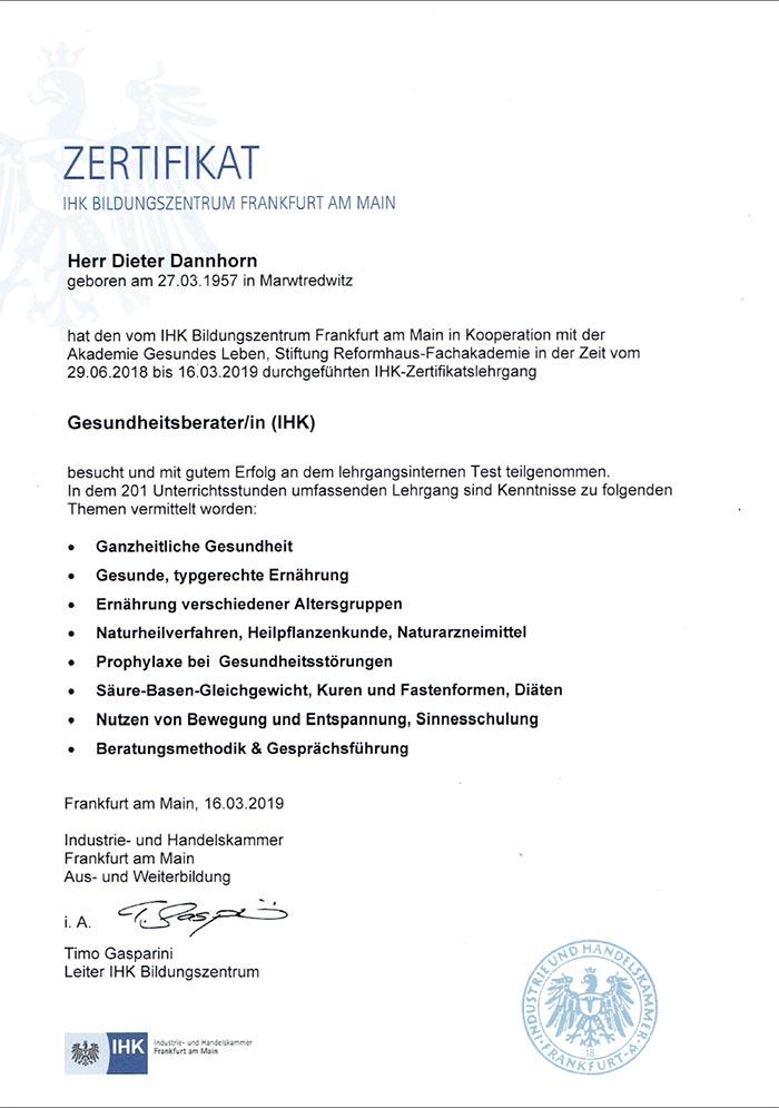Zertifikat, IHK Frankfurt am Main